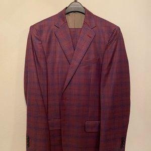 Dusty Rose Plaid Joseph Abboud Slim Fit Suit 40L